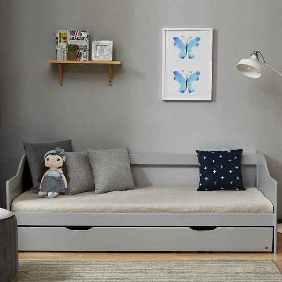 Tupelo Wooden Single Bed In Grey With Pull Out Trundle_3