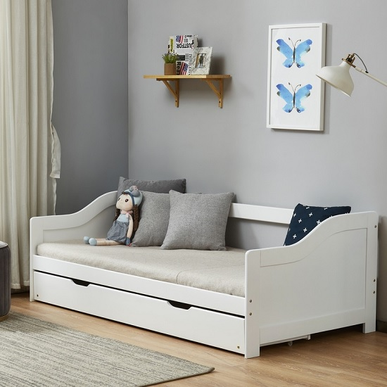 Tupelo Wooden Single Bed In White With Pull Out Trundle