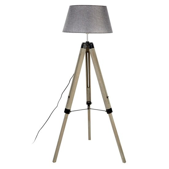 tuscany floor lamp in grey shade with wooden tripod base. Black Bedroom Furniture Sets. Home Design Ideas