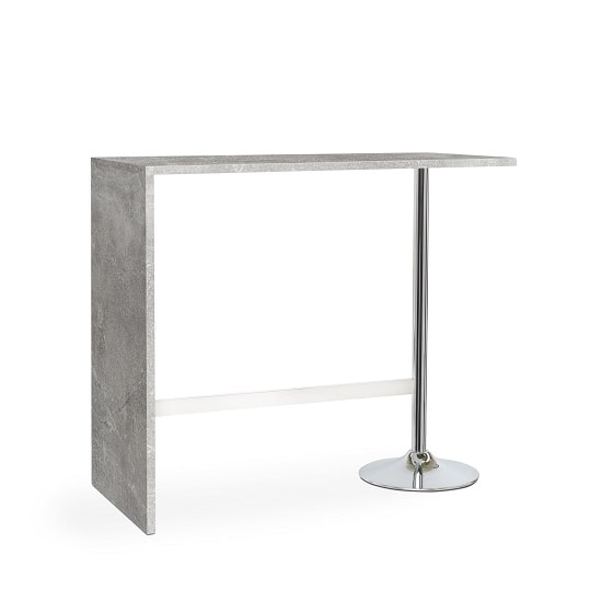 Tuscon Bar Table In Concrete Effect With Chrome Legs_1