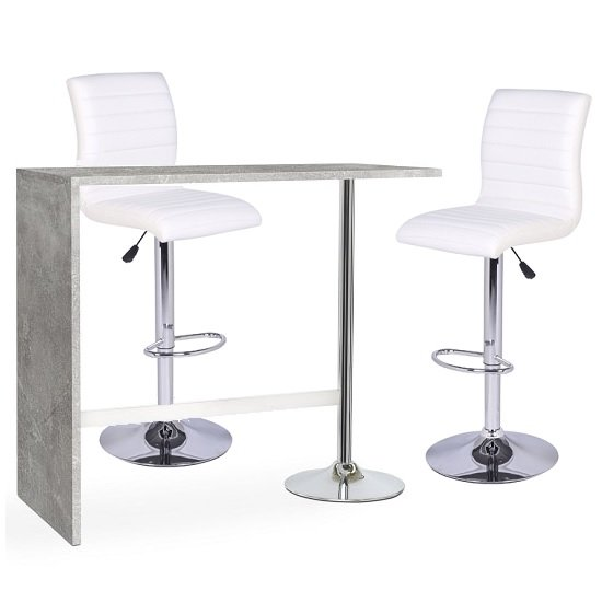 6a00d6a2e45 Tuscon Bar Table In Concrete Effect And 2 Ripple White Bar Stool