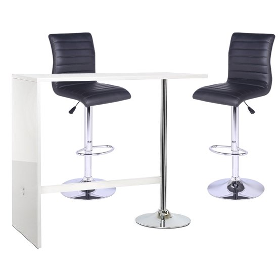 Tuscon Bar Table In White Gloss With 2 Ripple Black Bar Stools