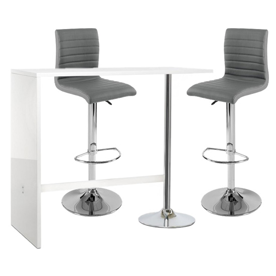 Tuscon Bar Table In White Gloss With 2 Ripple Grey Bar Stools_1