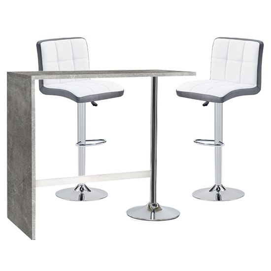 Tuscon Concrete Effect Bar Table 2 Copez White Grey Bar Stools
