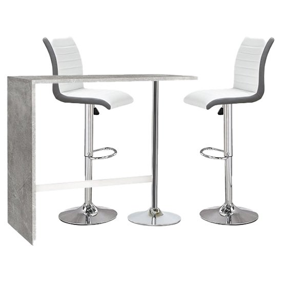 Tuscon Concrete Effect Bar Table 2 Ritz White And Grey Bar Stool