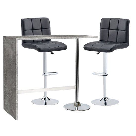 Tuscon Concrete Effect Bar Table With 2 Coco Black Bar Stools_1