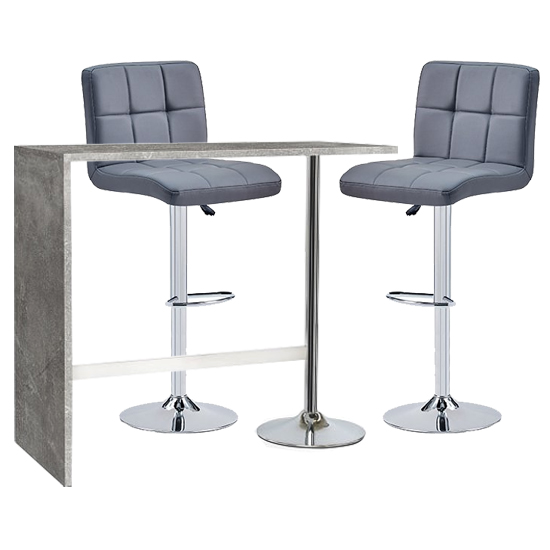 Tuscon Concrete Effect Bar Table With 2 Coco Grey Bar Stools