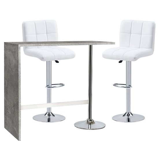 Tuscon Concrete Effect Bar Table With 2 Coco White Bar Stools