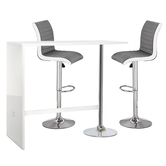 Tuscon White Gloss Bar Table 2 Ritz Grey And White Bar Stools