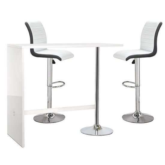 Tuscon White Gloss Bar Table 2 Ritz White And Black Bar Stools