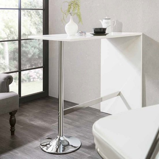 Tuscon Bar Table In White High Gloss With Chrome Legs_1