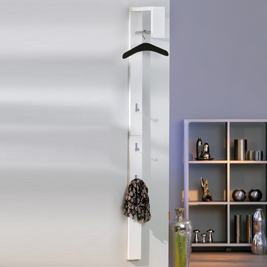 Tustin Coat Rack In White High Gloss With 3 Hooks_1