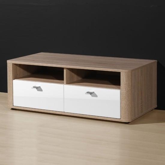 Monza Gloss White Oak 2 Drawer TV Stand