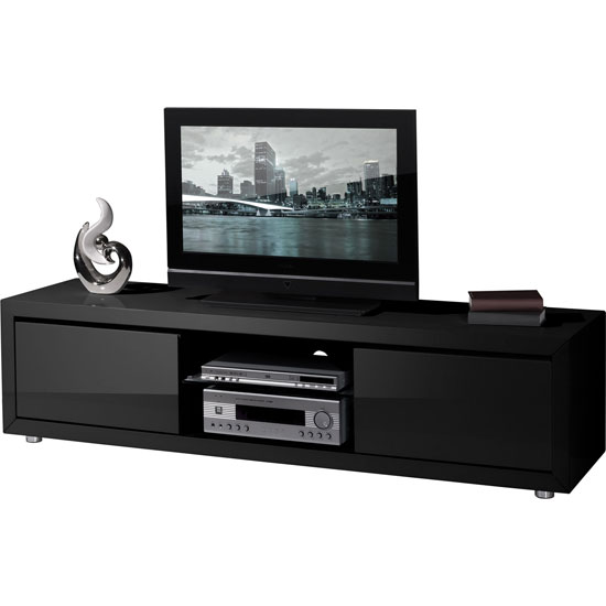 fino high gloss black lcd plasma tv stand with 2 drawers. Black Bedroom Furniture Sets. Home Design Ideas