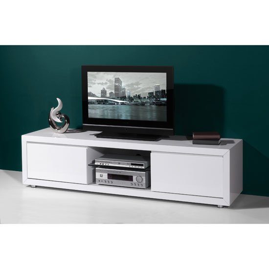 genesis plasma tv stand in white high gloss with sliding