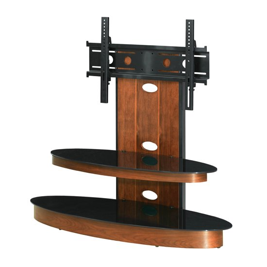 2 Tier Flat Screen Oval TV Unit in Walnut Veneer/black Glass