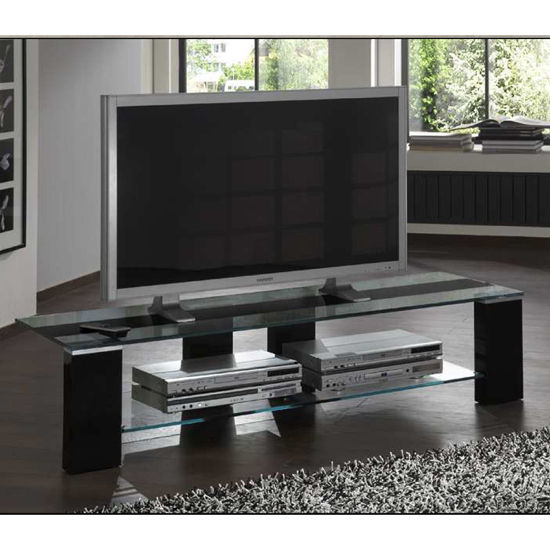 opus glass lowboard tv stand in black high gloss 12694. Black Bedroom Furniture Sets. Home Design Ideas