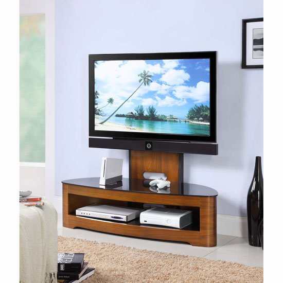 Curved Wooden Walnut Veneer LCD Plasma Cantilever TV