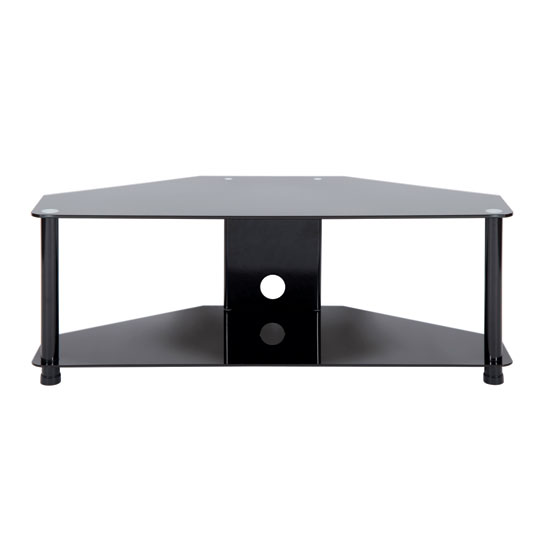 leve large tv stand in black glass