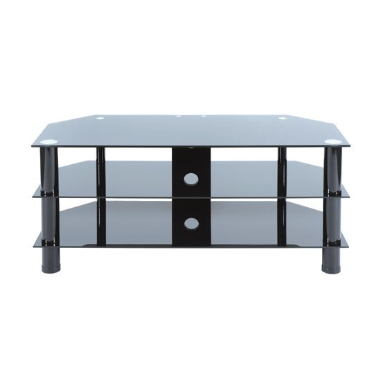 View Universal 702 black glass large tv stand with black legs