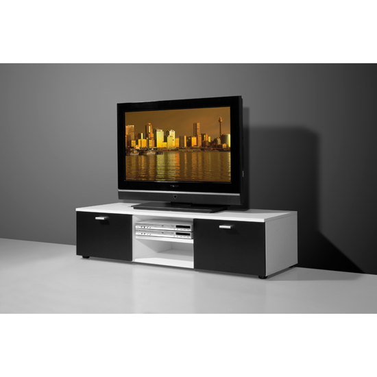 modern white and black low plasma tv stand with 2 shelves. Black Bedroom Furniture Sets. Home Design Ideas