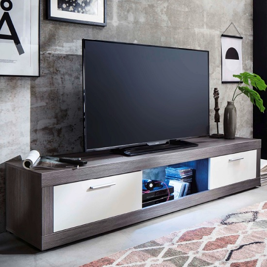 Tenus Tv Stand In White And Smoky