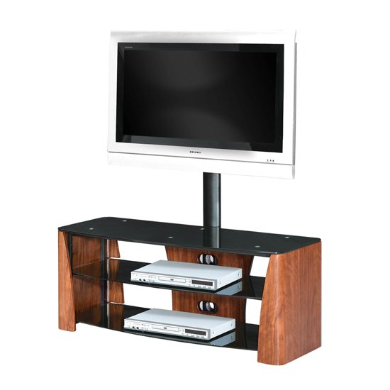 3 Tier TV Unit In Walnut Veneer With Black Glass
