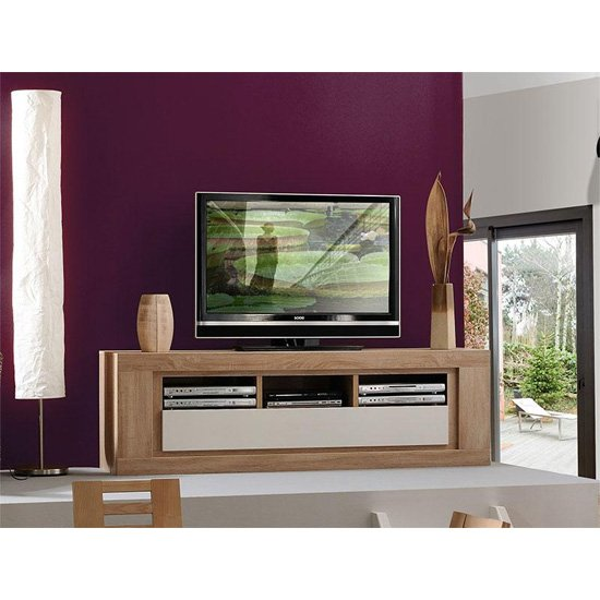 Season Wooden TV Stand With High Gloss Cream Flap