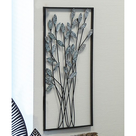 Twigs Metal Wall Art In Silver With Antique Dark Brown Frame