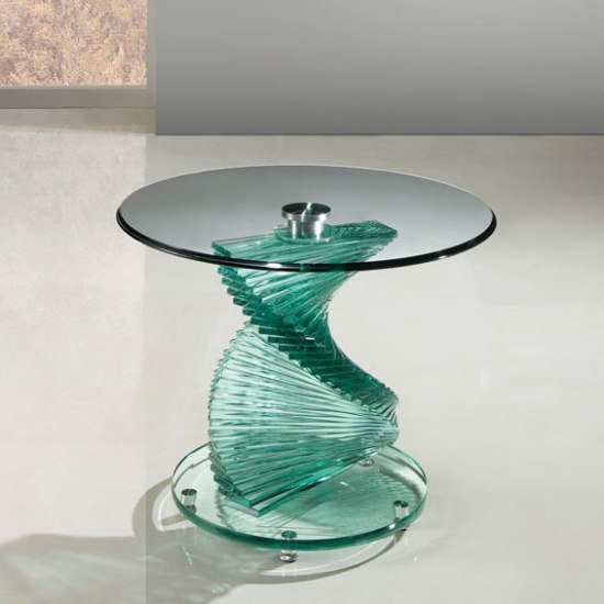 Amelia Lamp Table In Clear Glass