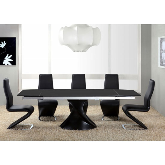 Z ii shape black faux leather modern dining chair dining for Z shaped dining room chairs