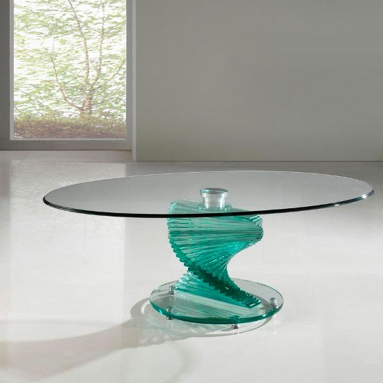 Amelia Clear Oval Glass Coffee Table With Twirl Base