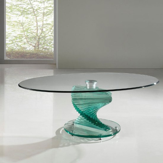 Puro Glass Coffee Table Clear: Amelia Clear Oval Glass Coffee Table With Twirl Base 5180