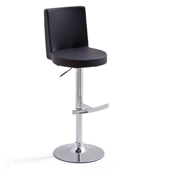 Twist Bar Stool Black Faux Leather With Round Chrome Base