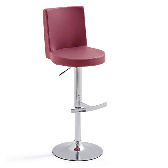 Twist Bar Stool Bordeaux Faux Leather With Round Chrome Base