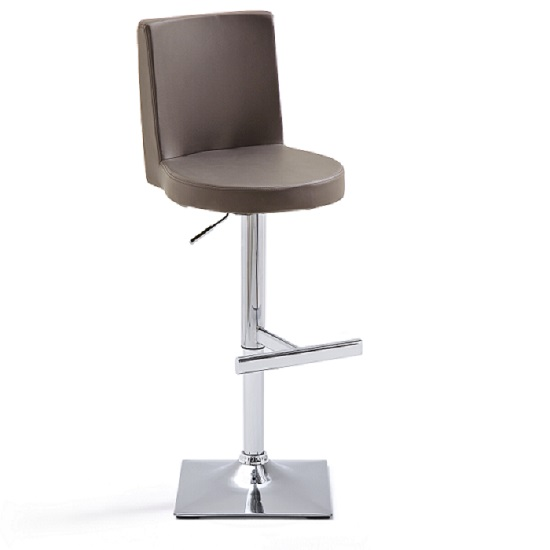Twist Bar Stool Brown Faux Leather With Square Chrome Base