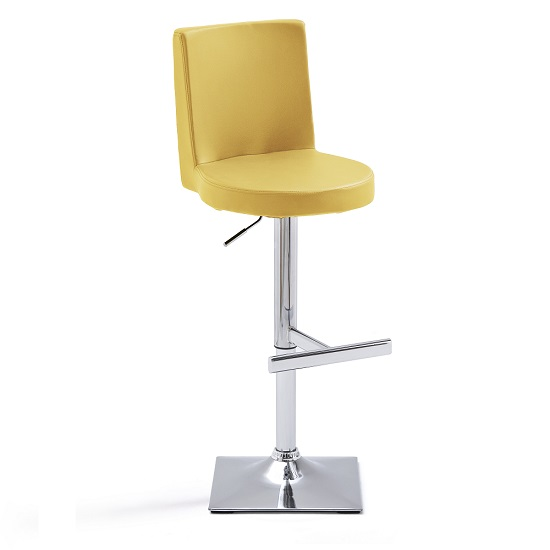 Twist Bar Stool Curry Faux Leather With Square Chrome Base