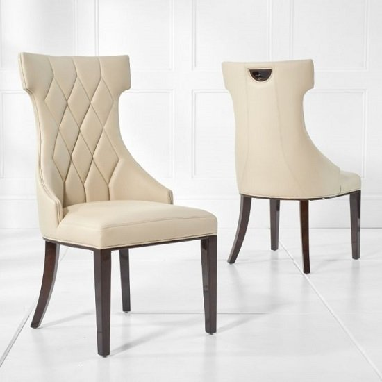 Tybrook Cream Faux Leather Dining Chair With Wood Legs In A Pair