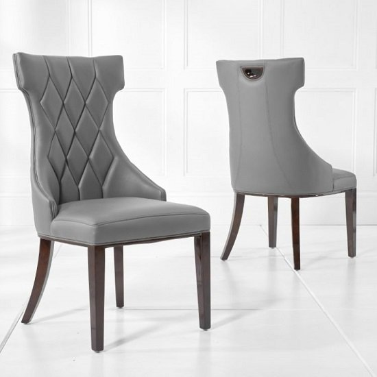 Tybrook Grey Faux Leather Dining Chair With Wood Legs In A Pair