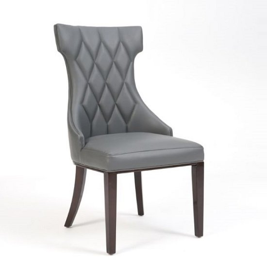 Tybrook Grey Faux Leather Dining Chair With Wood Legs In A ...