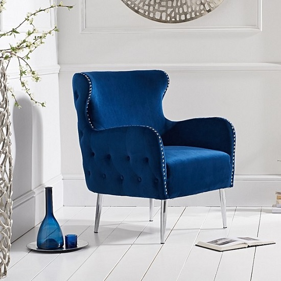 Modern Accent Chair With Metal Legs: Tyrell Modern Accent Chair In Blue Velvet With Metal Legs