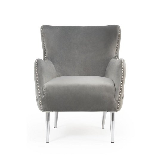 Tyrell Modern Accent Chair In Grey Velvet With Metal Legs_2