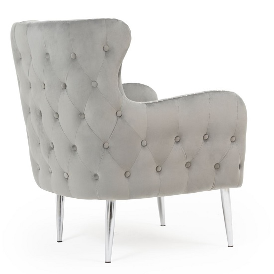 Tyrell Modern Accent Chair In Grey Velvet With Metal Legs_4