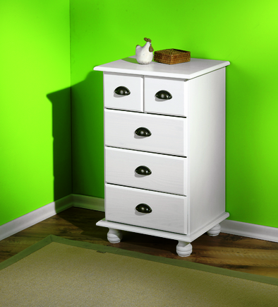 Ulla White Chest of  5 Drawers