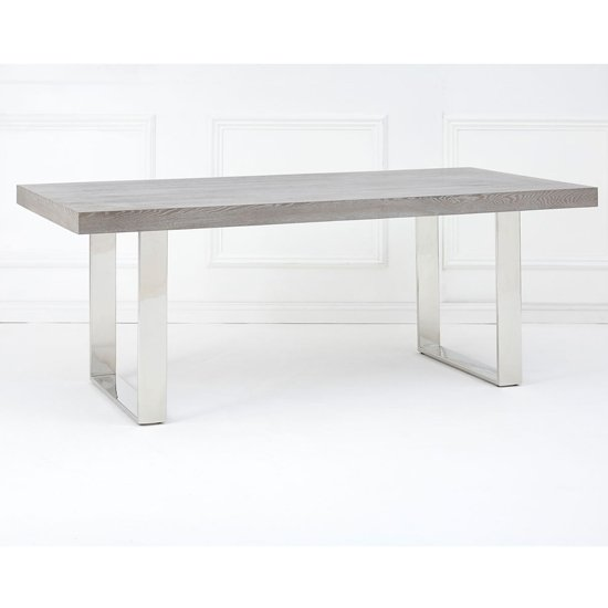Ulmos Rectangular Wooden Dining Table In Muted Grey