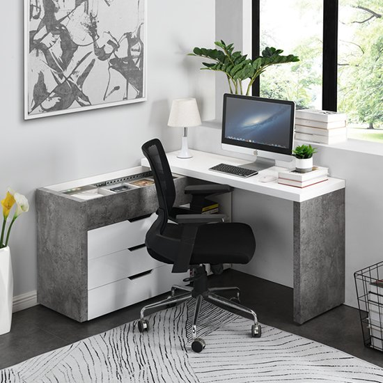 View Uma multifunctional corner storage computer desk in concrete effect and white
