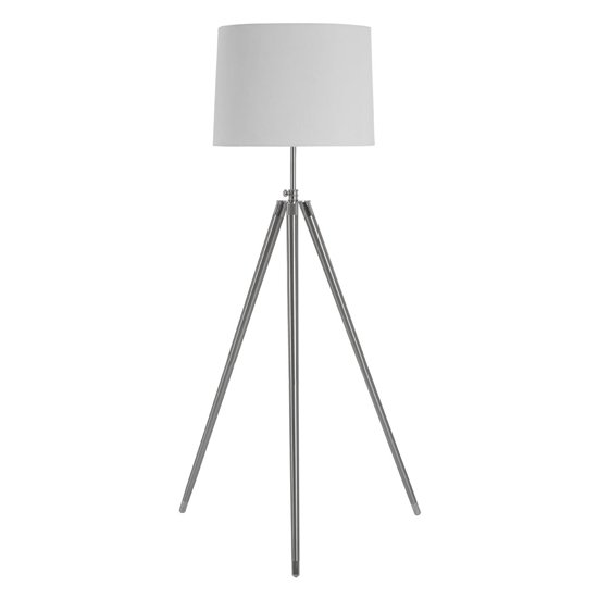 Unica Cream Fabric Shade Floor Lamp With Chrome Tripod Base