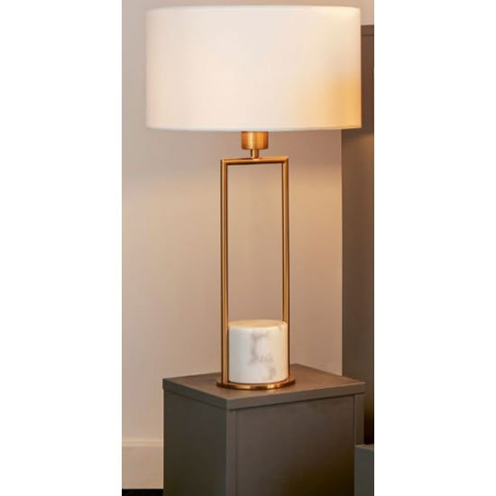 Unique Gold White Marble Base Table Lamp With White Drum Shade