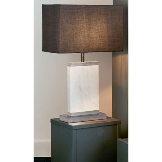 Unique Satin Nickel And White Marble Table Lamp With Grey Shade