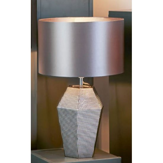 Unique Smoked Glass Table Lamp With Grey Drum Shade